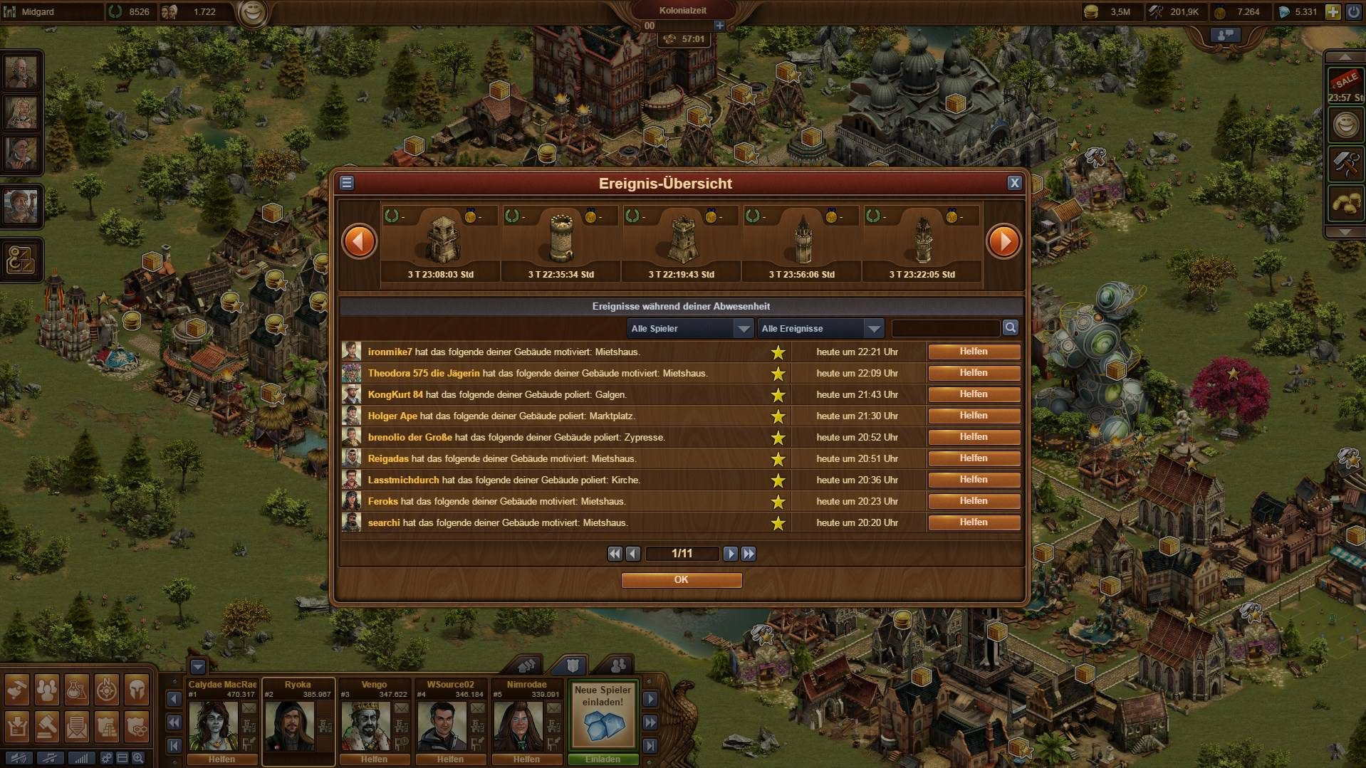 Forge of Empires Overview Occurrences
